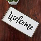 Welcome Rustic Farmhouse Wooden Sign 12″x6″ Stand or Hang White Brown Black Options
