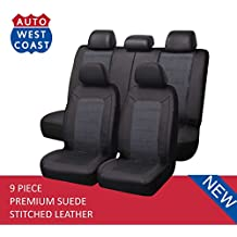 West Coast Auto Car Seat Covers Set for Auto, Truck, Van, SUV - Premium Level Leather & Suede Fabric, Airbag Compatible, Universal Fit (9 Pieces) (Gray)
