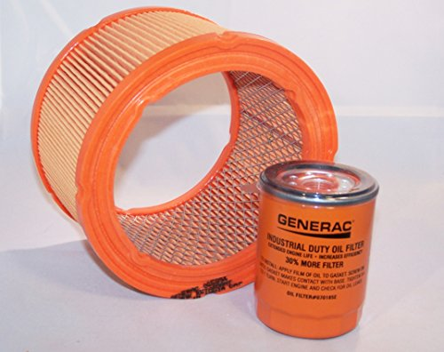 Generac Air Filter 0G5894 and Generac/Uninversal Generator Parts Replacement Oil Filter Sets for 070185B, 070185D, 070185E and 070185ES (Air and Oil (Generac Replacement for 070185E)) (Air Generac Filter)