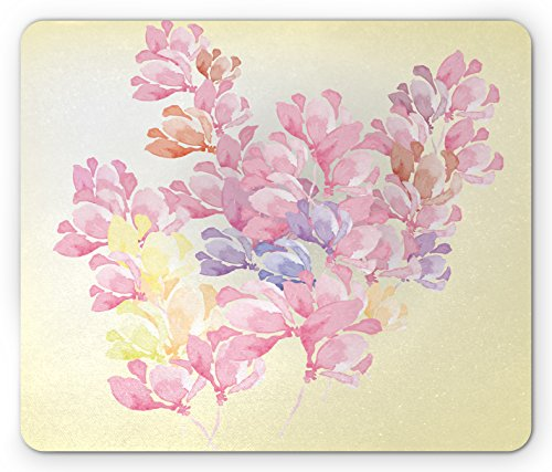 Floral Mouse Pad by Lunarable, Spring Bouquet Botanical Buds Petals Nature Essence Fragrance Retro Picture, Standard Size Rectangle Non-Slip Rubber Mousepad, Baby Pink Light Yellow