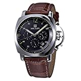 ALPS Mens Watch Military Chronograph Multi function Stainless Steel Case Waterproof Brown Leather Watches