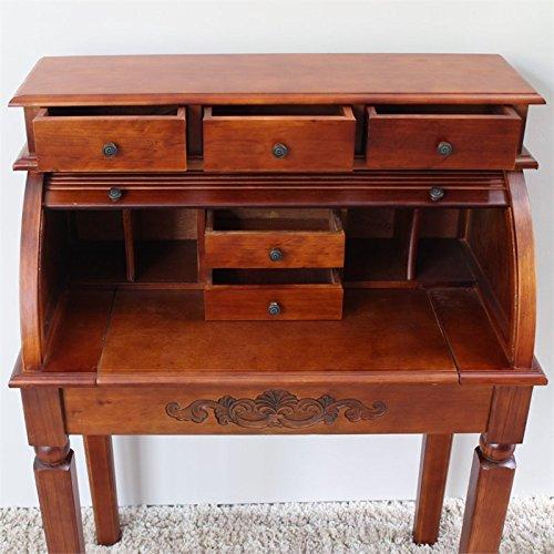 International Caravan 3820-IC Furniture Piece Carved Wood Roll Top Desk