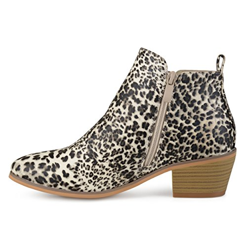 Brinley Co Mujeres Faux Leather Stacked Tacón Con Cremallera Lateral Botines Leopard