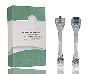 e6e3029bbe5f0 Amazon.com : Derma Roller (2 Pack for Face & Eyes) By Landi's For ...