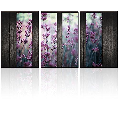 Multi Panel Canvas Art,Purple Lavender Print on Canvas,Floral Canvas
