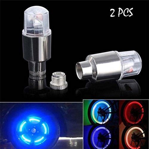 Price comparison product image Highpot Hot 2Pcs LED Flash Light Lamp Bike Car Motorcycle Wheel Tire Tyre Valve Cap Neon (Silver)