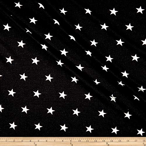 Fabric California Stretch French Terry Stars Fabric, Black, Fabric By The Yard
