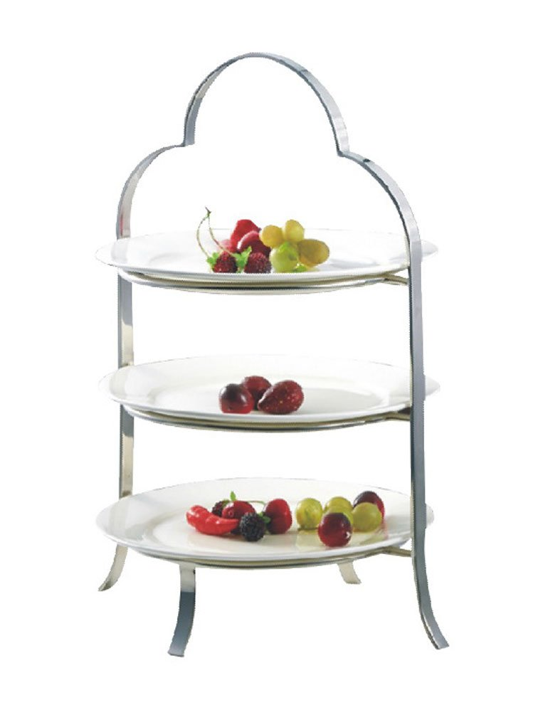 iecool Stainless Steel Three-tier Afternoon Tea Plate Fruit Tray Silver