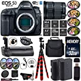 Canon EOS 5D Mark IV DSLR Camera with 24-105mm is STM Lens + Professional Battery Grip + 4PC Macro Filter Kit + LED Kit + Extra Battery + Case + Wrist Strap + Tripod - International Version
