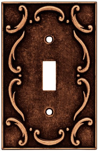 Brainerd 64268 Traditional French Lace Single Toggle Switch Wall Plate / Switch Plate / Cover, Sponged Copper - Brainerd French Lace