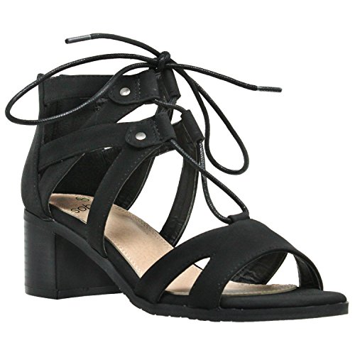 2291f145bad SOBEYO Womens Dress Sandals Lace Up Gladiator Block Low Heel Shoes Black SZ  8