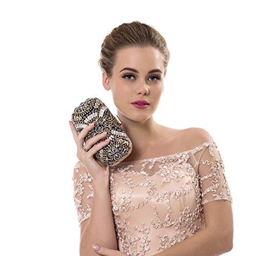 Bolsa Diamantes Imitación Cristal Para Boda Cuentas De Y Bolsas Bolso Noche Mujeres Embrague Flores Schwarz La Moda Eastever Con Fiesta Xnq7ORBw