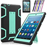 Fire HD 8 207case,Mignova Heavy Duty Hybrid Protective Case Build In Kickstand For All-New Fire HD 8Tablet 7/8th Generation 2017 Release+Screen Protector Film and Stylus Pen(Black/Blue)