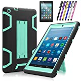 Fire HD 8 2017 Case, Mignova Heavy Duty Hybrid Protective Case Build In Kickstand For All-New Fire HD 8 Tablet 7th Generation 2017 Release + Screen Protector Film and Stylus Pen (Black/Blue)