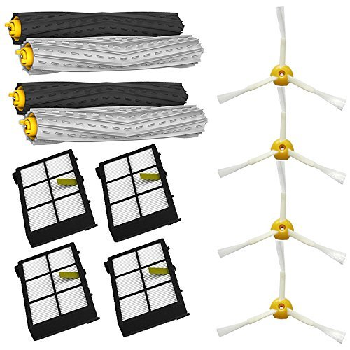 LOVE(TM) Tangle-Free Debris Extractor Set & Side Brushes & Hepa Filters replacement Kit For Robot 800 series 870 880
