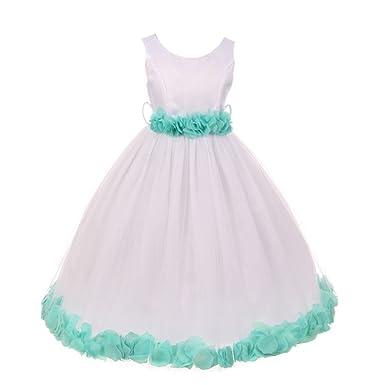 b16e4057aa93 My Best Kids Big Girls White Mint Floral Petals Embellished Flower Girl  Dress 7/8