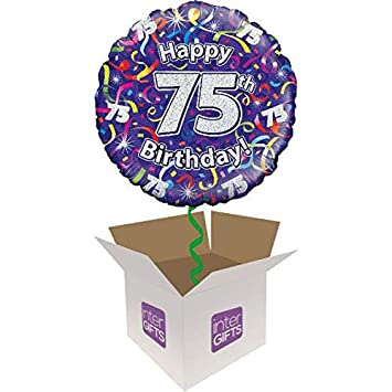 InterBalloon Helium Inflated Happy 75th Birthday Purple Streamers Balloon Delivered In A Box