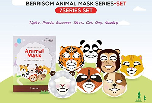 Berrisom Animal Mask Series Set 7 Characters Fun N Moisturizing Facial Mask Pack (25ml x 7pcs)