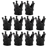 Ozzptuu 10PCS King Crown Spacer Beads Pendants Cubic Zirconia Pave Charm Beads with Black Crystal for Jewelry DIY Making (Black)
