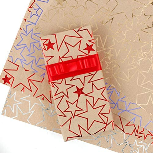 Toyvian 8ピースギフトラッピングクラフト紙スターパターンギフトプレゼントラッピングシート装飾フェスティバルギフトラッパー多目的カラフルなラッピングシート用結婚式誕生日新年