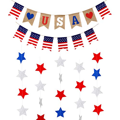 2 Pieces 4th of July Banner with 8 m/ 26.25 Feet Star Garland Independence Day Burlap Banner American Bunting Garlands for Patriotic Party Decoration Photo Props