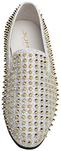 Jump Newyork Uomo Luxor Punta Rotonda In Tessuto E Pelle Metallizzata Spike Slip-on Smoking Slipper Dress Mocassino In Oro Bianco