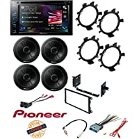 Pioneer AVH-290BT Double DIN Bluetooth Package +TS-G1645R 250W 6.5 2-Way G-Series Coaxial Car Speakers W/ Dash Mounting Installation Kit+ Radio Antenna Adapter And Harness