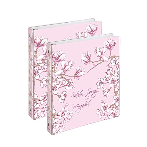 COMIX 2 Pack Letter Size, Heavy Duty Premium Designer 3 Round Ring Binder 1 Inch, (A2134) BACK TO SCHOOL/CAMPUS (Sakura Spring (Premium 3 Ring)