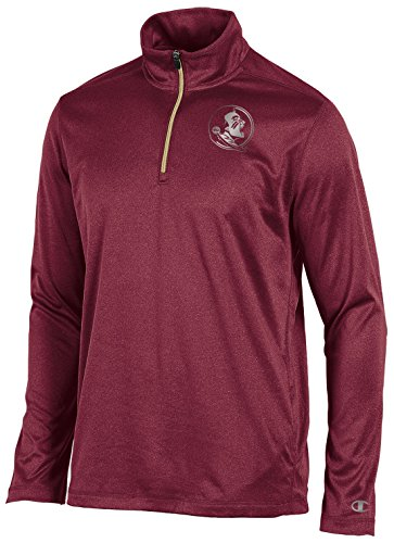 NCAA Florida State Seminoles Men's Lightweight Quarter Zip W Jacket, Garnet Heather, (Garnet Florida State Seminoles Jacket)
