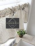 Cheap Cozymomdeco Check Linen Handmade Natural Cotton Cafe Curtain, Kitchen Curtain Valances, European Rural Fashion Window Curtain for Home, One Piece 30(w)x135(l)cm