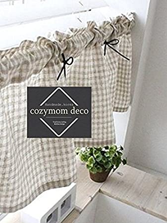 cozymomdeco Überprüfen, die Baumwolle Leinen Cafe Gardine, Küche Volants,  europäische ländlichen Fashion Fenster Vorhang für Home, einem Stück 30 (W)  ...