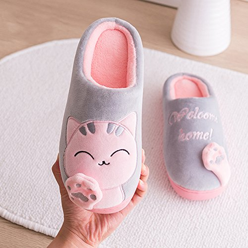 Shoes Cat Fuzzy Warm Grey Winter Men Slip Cute ChicPro Women for Slippers Ladies Slippers Bedroom House Non 0aBntznq