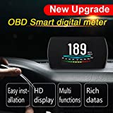 Car HUD Head up LED Display with OBD2/EUOBD Interface Plug, AICase P12 4.2'' Smart Universal HUD with Play Vehicle Speed KM/h MPH, OverSpeed Warning,Water Temperature, Mileage Measurement