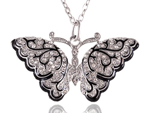 Alilang Immaculately Carved Elegant Silver Toned Black Enamel Art Deco Butterfly Necklace Pendant