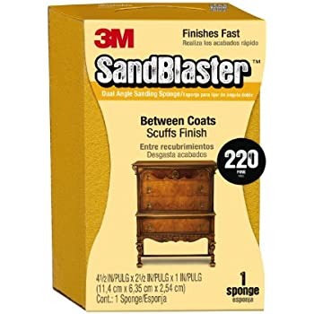 3M SandBlaster 9565 Large Between Coats Dual Angle Sanding Sponge, 2.5 in by 4.5 in by 1 in, 220-Grit