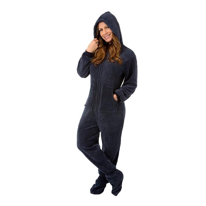 Big Feet Pajama Co. marineblau Plüsch polar Unisex con capucha pie pijamas für Männer & Frauen XS Azul: Amazon.es: Ropa y accesorios