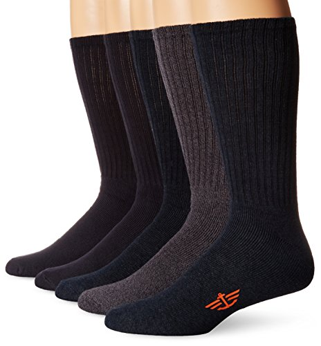 Dockers Men's 5 Pack Cushion Comfort Sport Crew Socks, Navy/Grey Assorted, Shoe Size: 12-15 Size: 13-15