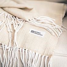"Herringbone Throw Blanket, Lightweight, Woven, Snag & Fade Resistant, Casual, Cozy, Warm, Soft, Indoor/Outdoor Use, Everyday Use - 50 x 60"" - Champagne (Herringbone Cream)"