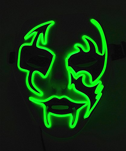 Buttons The Clown Costumes (Cage-YYL Frightening Wire Halloween Cosplay LED Light up Mask for Festival Parties (Clown 2, Green))