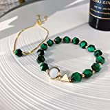 Naropox Joyería Pulsera para Mujer, Mujer Pulseras Ajustable de Piedras Preciosas Verdes, Regalo para Novias, Amigas y…