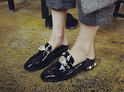 fashion New pants shoes shoes Black retro square with shoes shallow tqfqwZrP