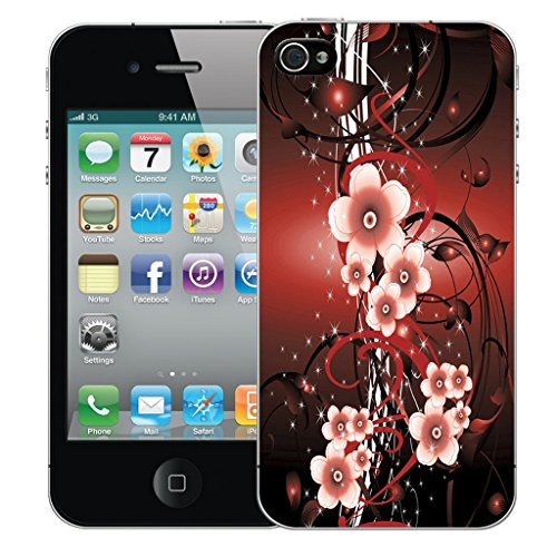 Mobile Case Mate iPhone 4 Silicone Coque couverture case cover Pare-chocs + STYLET - Red Flower Vine pattern (SILICON)