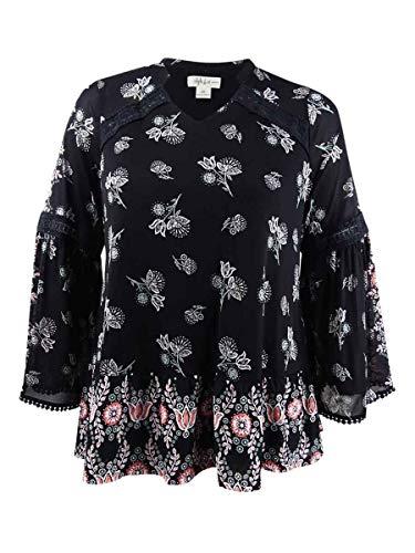 (Style & Co. Women's Printed Madarin-Collar Crochet-Trim Top (0X, Polish Wonder))