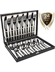 Silverware Set, HOBO 24 Pieces Flatware Cutlery Set, Black Stainless Steel Dinnerware Set,