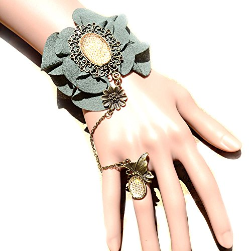 [black floral lace bracelet -Dark green flowers pendant charm Vintage bracelet with ring chain] (Bride Of Dracula Costumes)