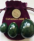 Yoni Eggs 3-piece Set, Undrilled, Made of Real Nephrite Jade, Consisting of Large, Medium and Small 3 Sizes, Both Functional as Yoni Massage Set and Meditation Stones for Energy and Crystal Healing, by Genuine Jade