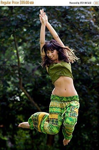Yoga Hippie Sarouel Pants Stylish Stretchy Boho Bohemian Gypsy Shanti Yoga Ali Baba Pants