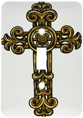 (3dRose lsp_78348_1 Brown Scroll Religious Cross Single Toggle Switch )