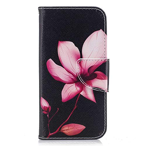 iPhone XR Case, Bear Village Painted Pattern Premium PU Leather Magnetic Wallet Case Cover with Kickstand and Card Holder ID Slot for Apple iPhone XR (#5 Flower)
