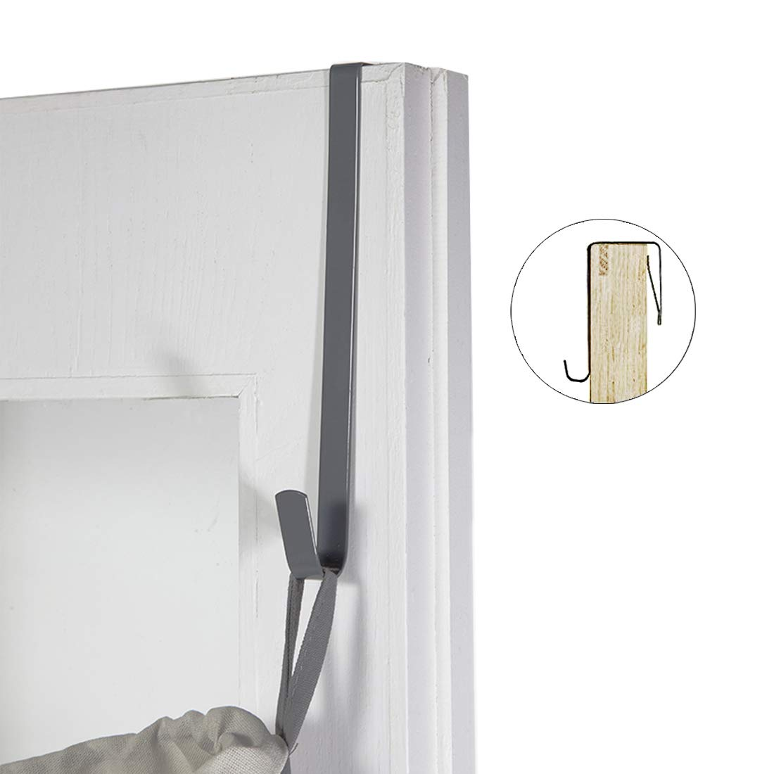 STORAGE MANIAC 2-Pack Durable Hanging Laundry Hamper Bag with Free Door Hooks Gray STM1007000009 Space Saving Thickened Canvas